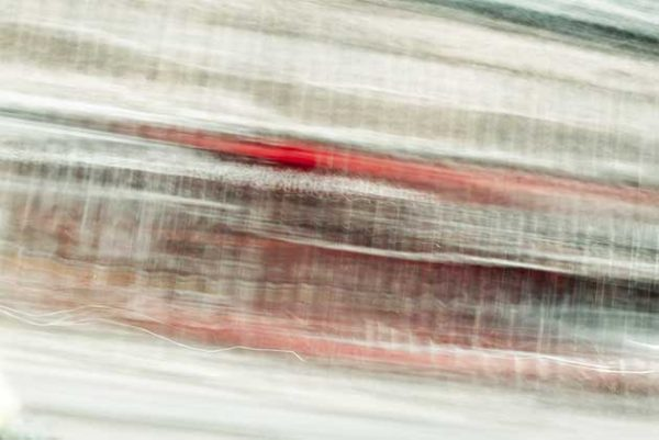 abstract expressionism, city street, urban, movement, motion, red, brown, pink, vibrant