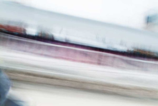 abstract expressionism, city street, urban, movement, motion, red, blue, brown, vibrant