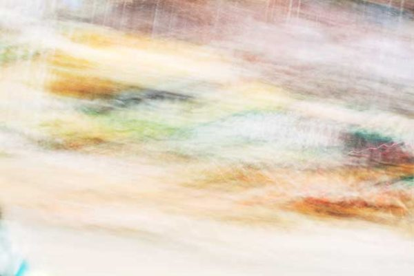 abstract expressionism, city street, urban, movement, motion, yellow, orange, red, vibrant