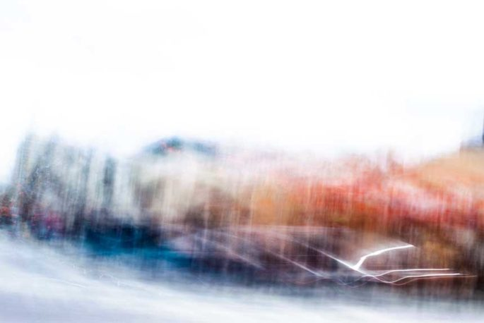 abstract expressionism, city street, urban, movement, motion, blue, orange, red, vibrant