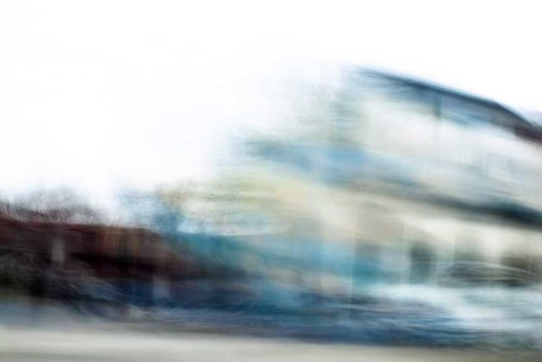abstract expressionism, city street, urban, movement, motion, brown, blue, yellow, vibrant