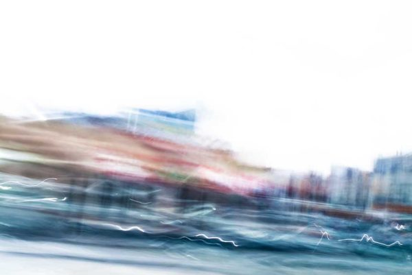 abstract expressionism, city street, urban, movement, motion, blue, brown, red, vibrant