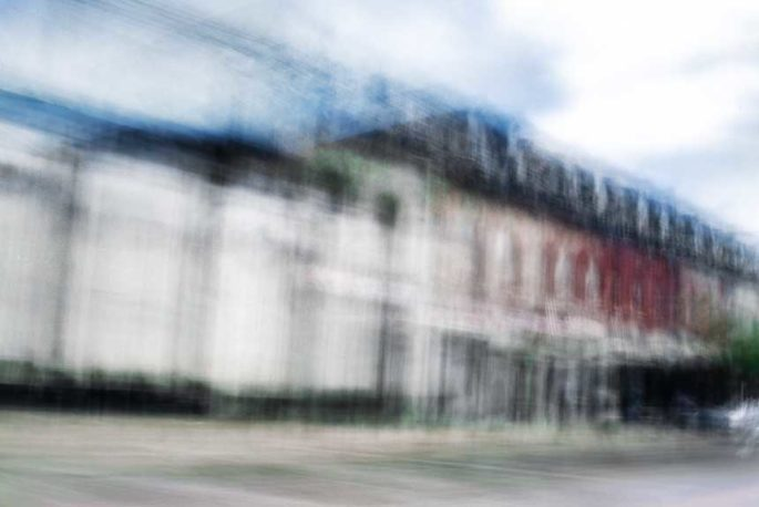 abstract expressionism, city street, urban, movement, motion, red, white, blue, vibrant