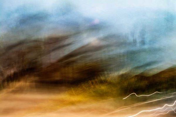 abstract expressionism, city street, urban, movement, motion, brown, blue, orange, vibrant