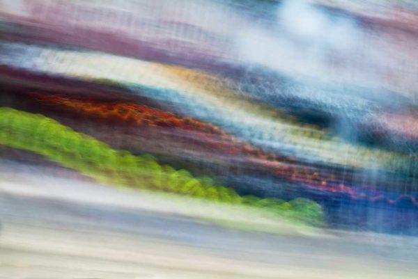 abstract expressionism, city street, urban, movement, motion, mauve, blue, green, vibrant