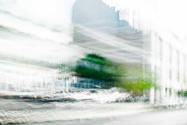 abstract expressionism, city street, urban, movement, motion, blue, green, vibrant