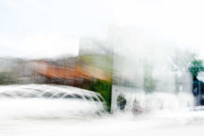 abstract expressionism, city street, urban, movement, motion, orange, green brown, vibrant
