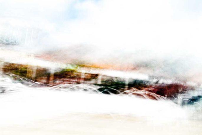 rhythm, city street, urban, movement, motion, turquoise, red, orange, brown, vibrant