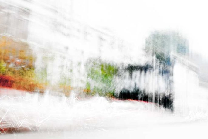 abstract expressionism, city street, urban, movement, motion, turquoise, red, orange, green, vibrant