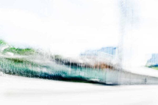 abstract expressionism, city street, urban, movement, motion, turquoise, green, blue, brown, vibrant