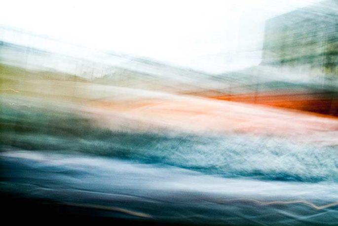 movement, motion, streak, rhythm, city street, urban, vibrant, blue, green, orange