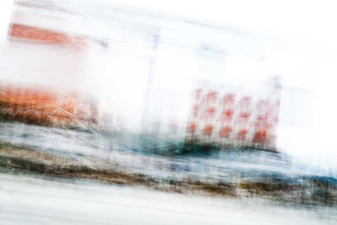 movement, motion, streak, rhythm, city street, urban, vibrant, orange, blue, brown